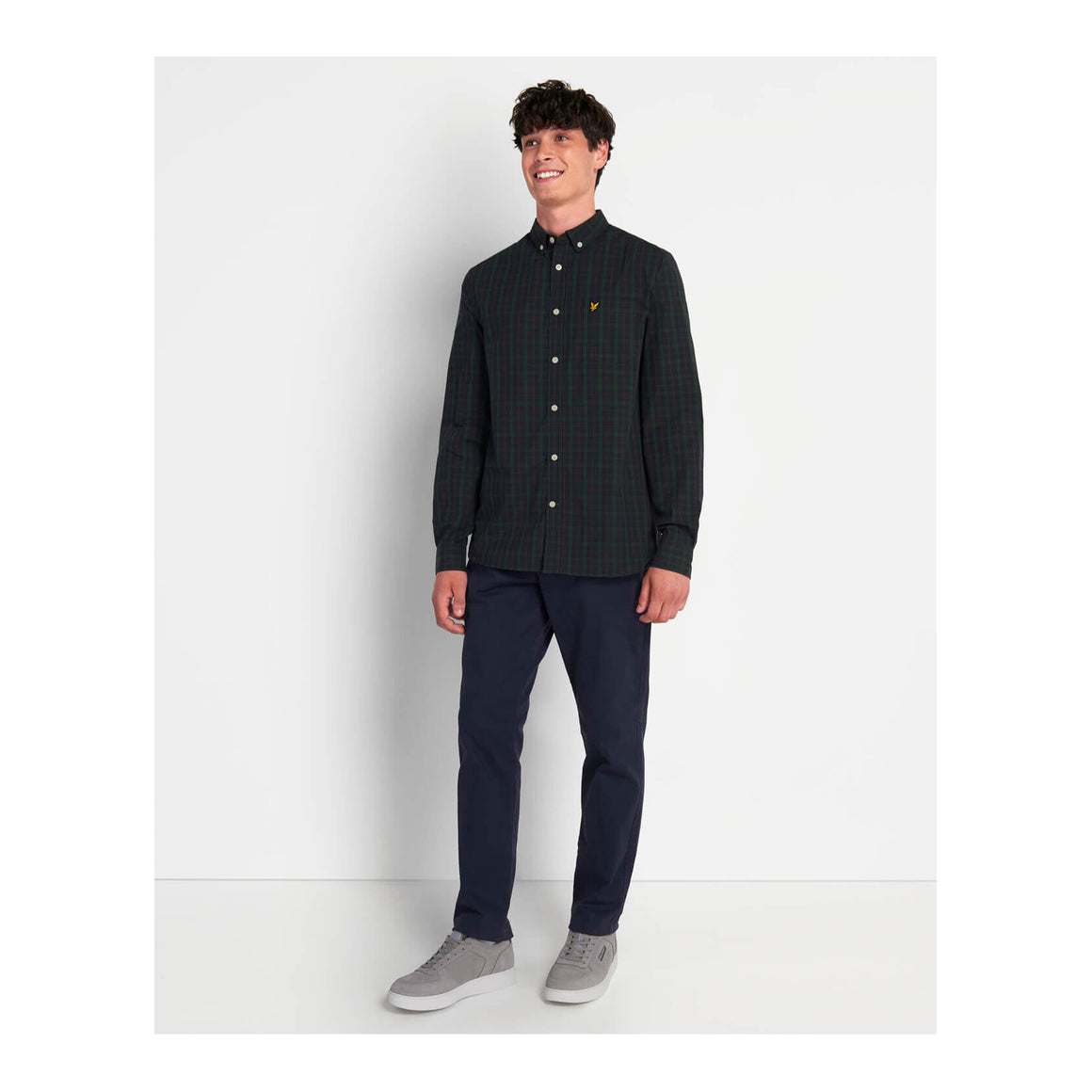 Check Poplin Shirt for Men in Navy/Jade Green