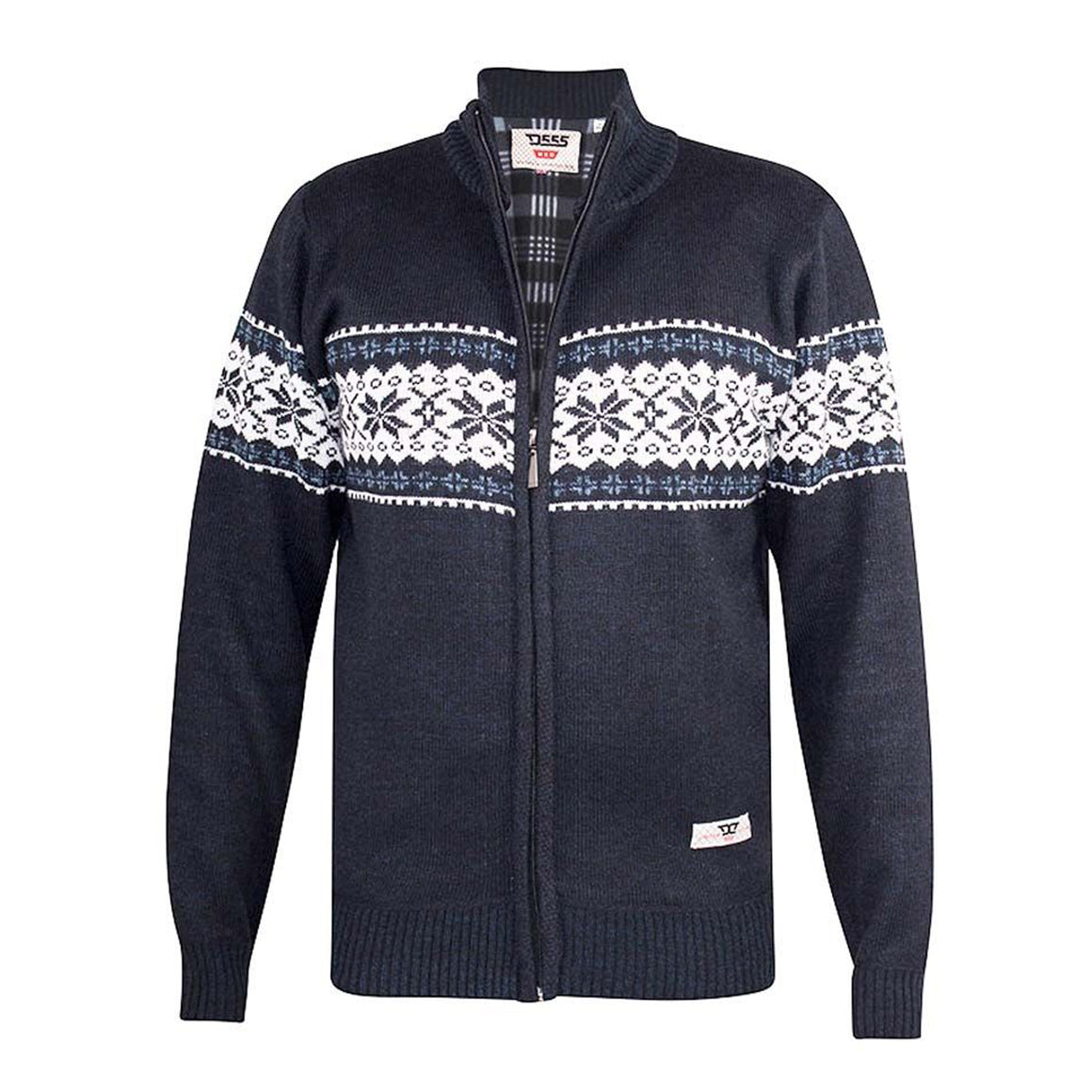Campbell Fleece Lined Cardigan for Men in Navy Marl