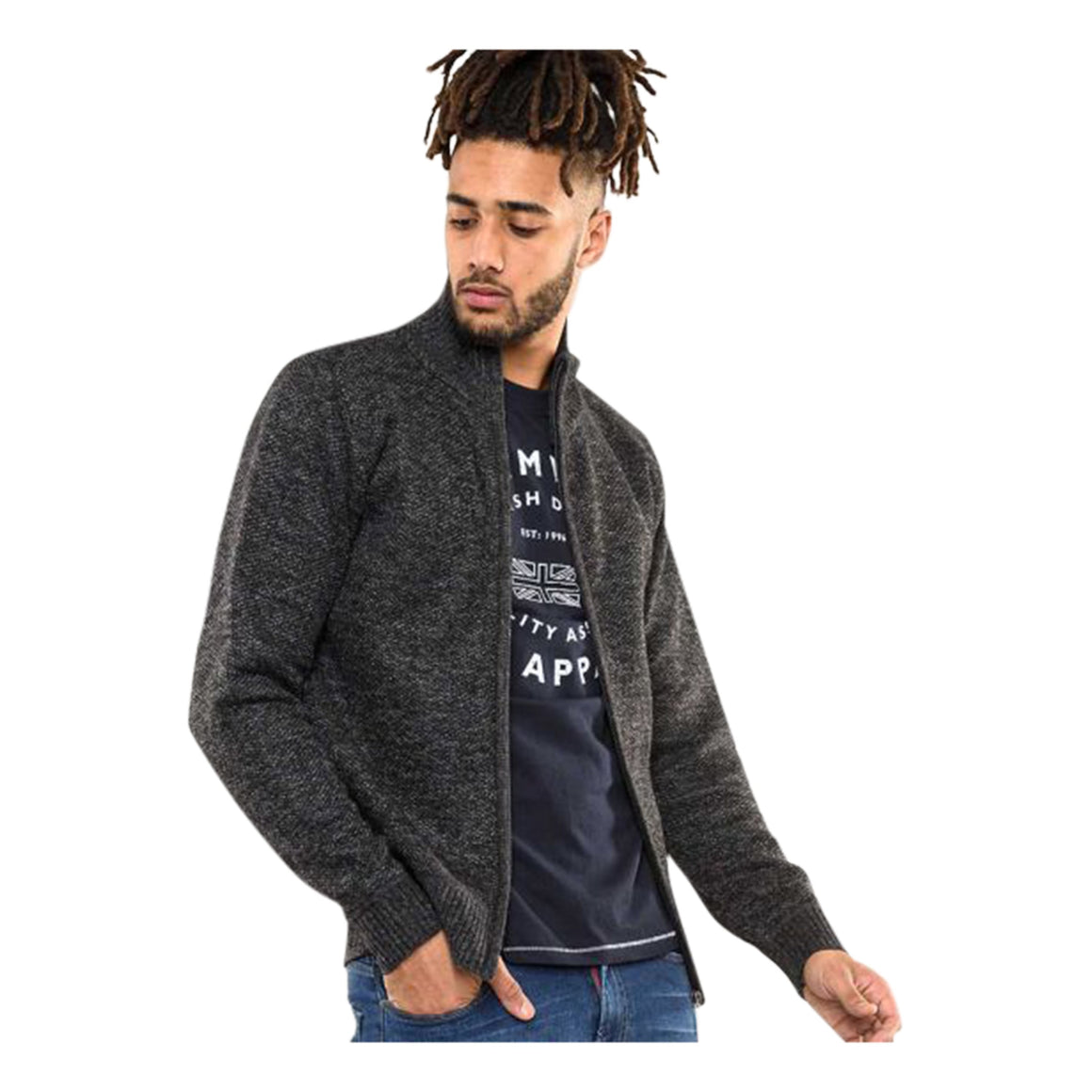 Sherwood Fleece Lined Cardigan for Men in Black Marl