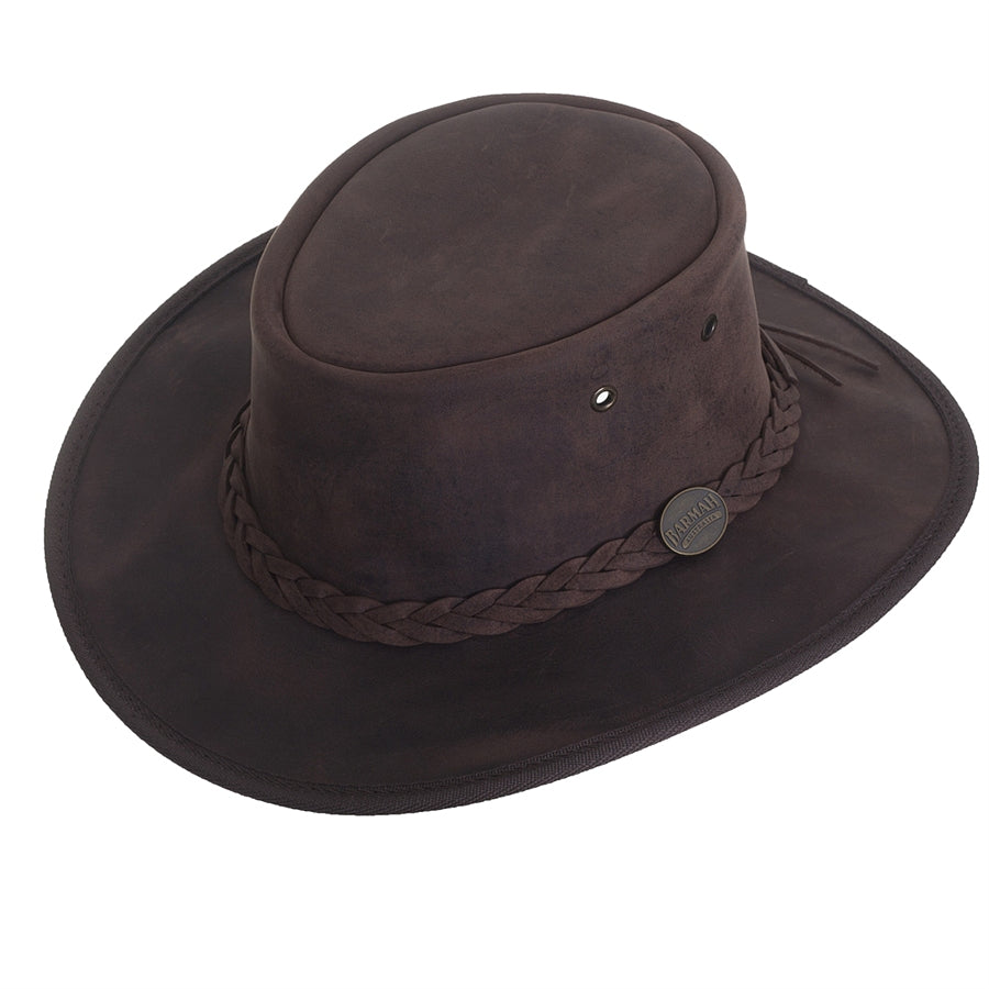 Full Grain Leather Foldaway Bronco Bush Hat for Men in Dark Brown