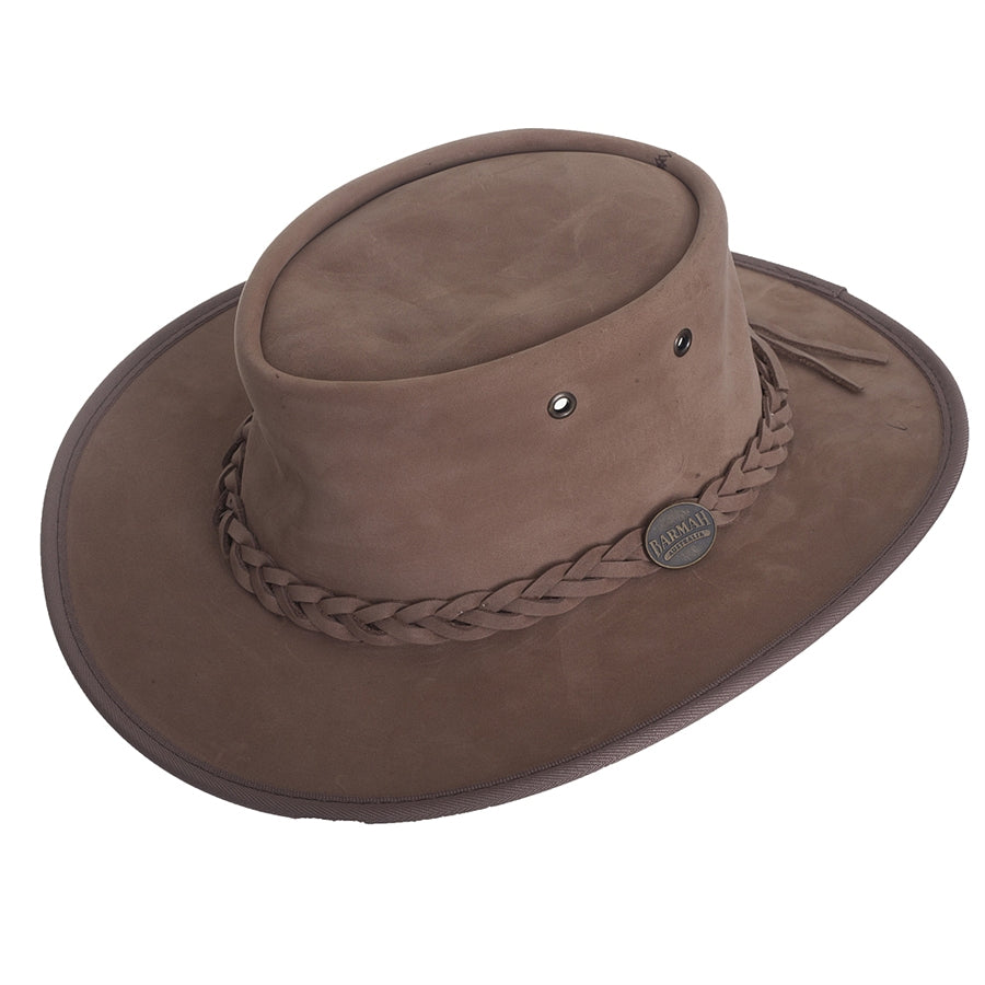 Full Grain Leather Foldaway Bronco Bush Hat for Men in Hickory