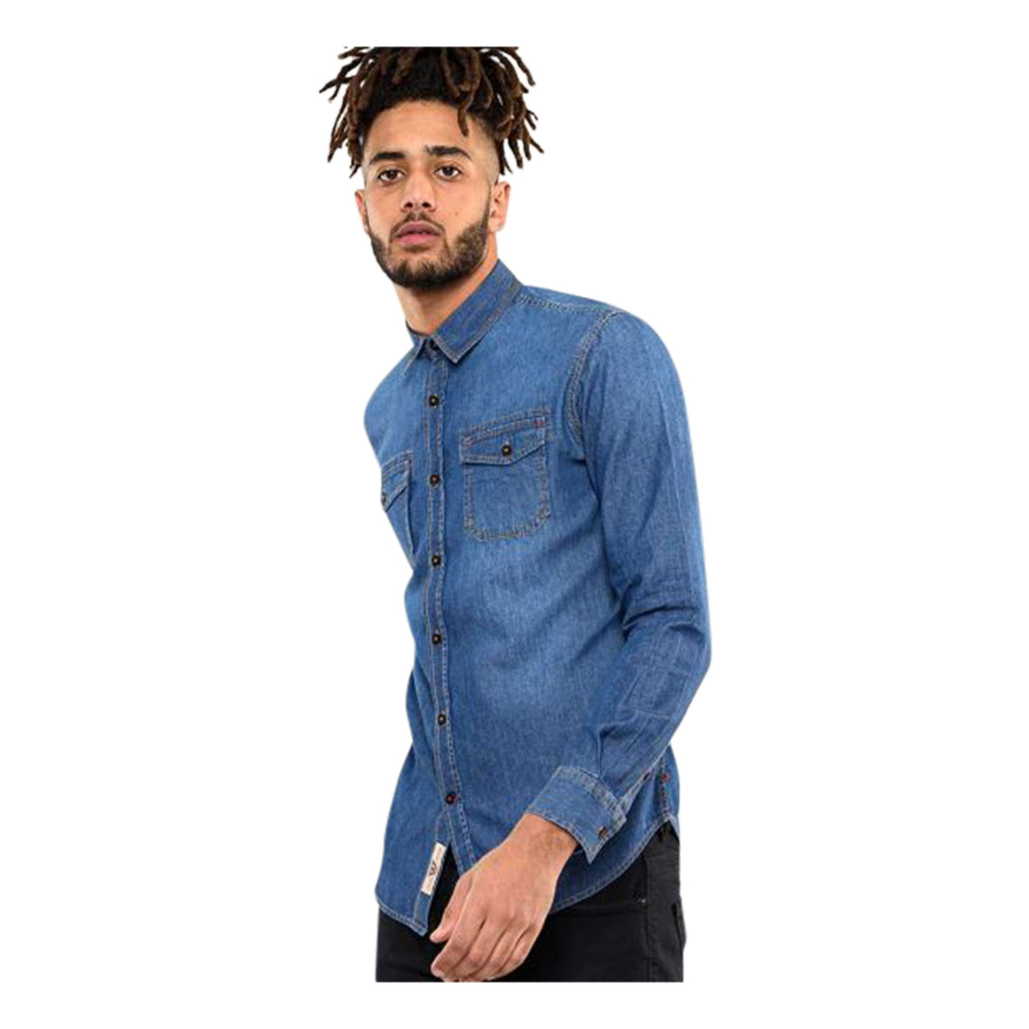 Scotsdale Long Sleeve Denim Shirt for Men in Dark Blue Denim