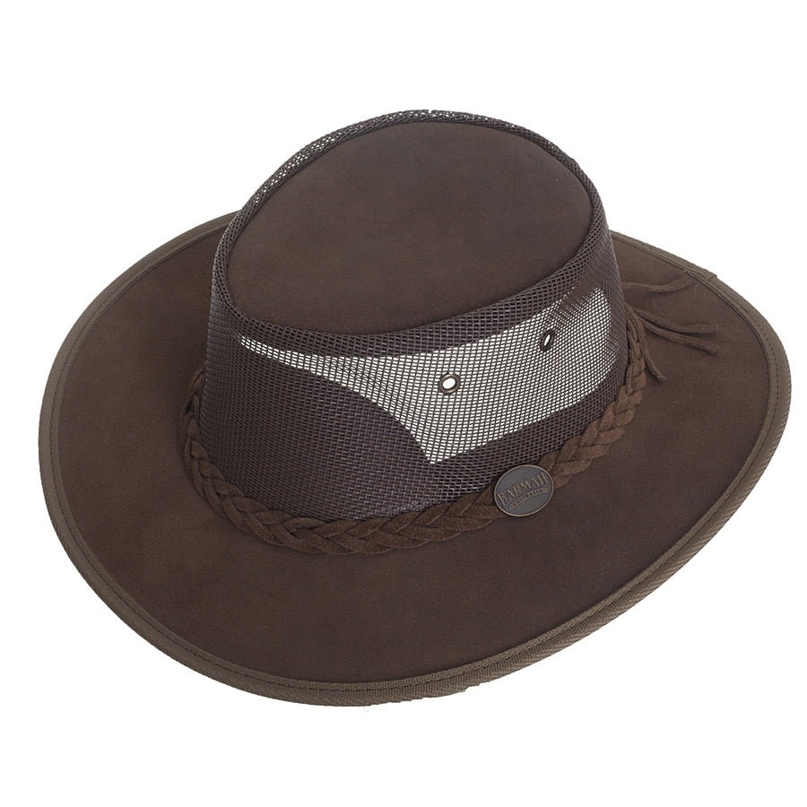 Full Grain Leather Foldaway Cooler Bush Hat for Men in Hickory