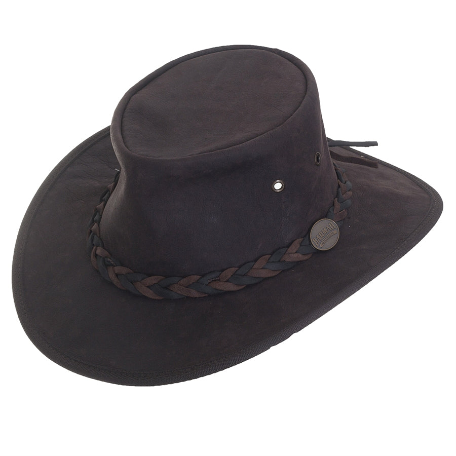 Full Grain Kangaroo Leather Bush Hat for Men in Brown Crackle