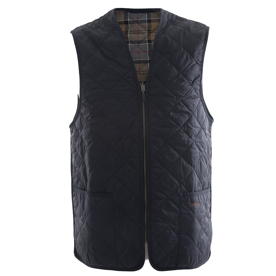 Mens Quilted Waistcoat/Zip-in Liner in Navy/Dress Tartan