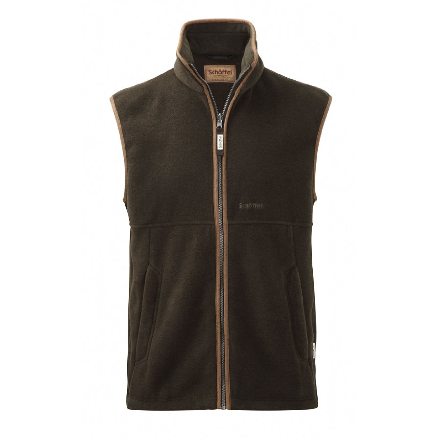 Mens Oakham Fleece Gilet in Dark Olive