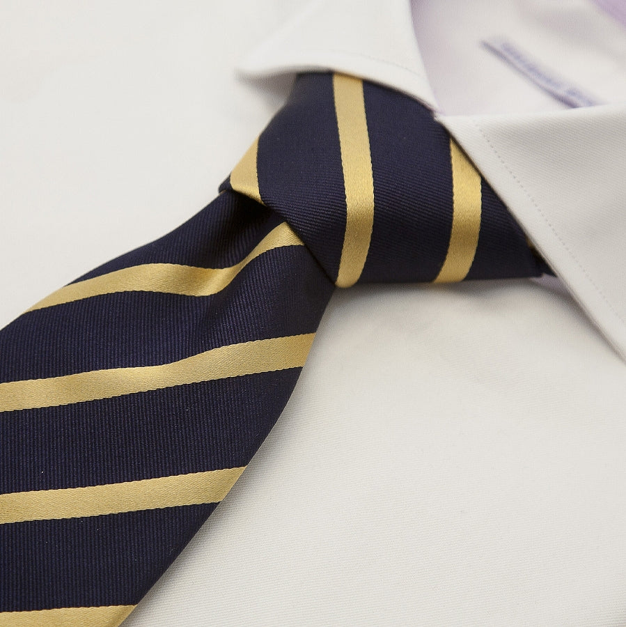 Stripe Silk Tie for Men in Navy & Gold