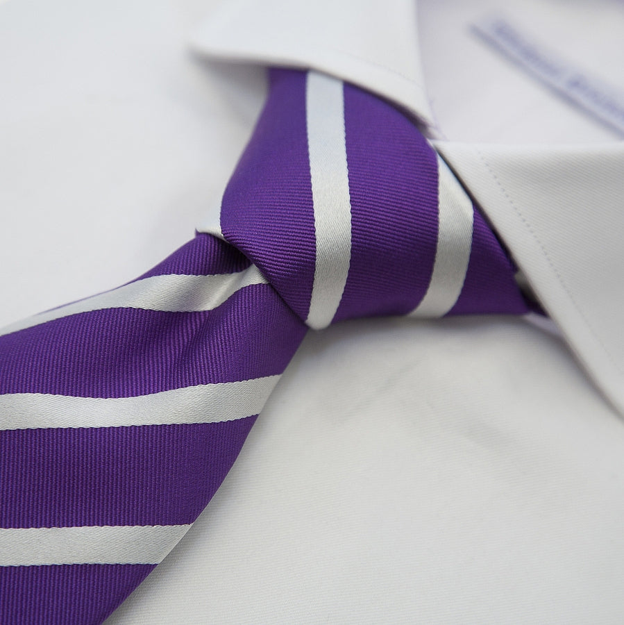 Italian Silk Tie in Purple and White Stripe