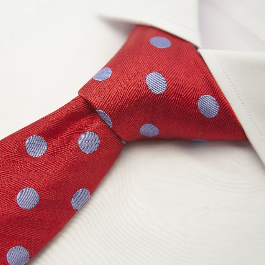 Italian Silk Tie in Red and Sky Large Spot