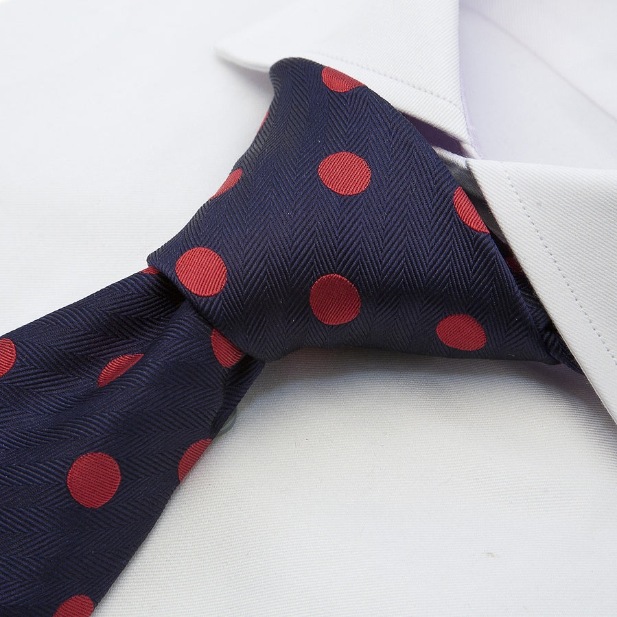 Italian Silk Tie in Navy and Red Large Spot