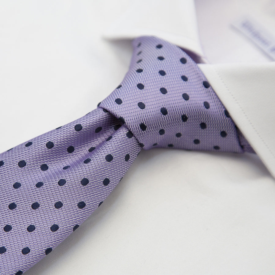 Italian Silk Tie in Lilac and Navy Woven Spot
