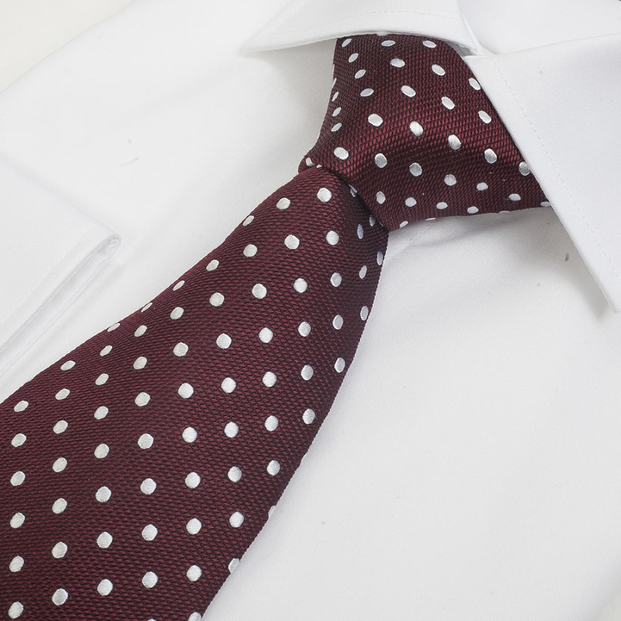 Silk Tie in Wine & White Small Spot
