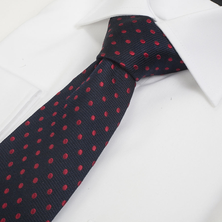Silk Tie in Navy & Red Small Spot
