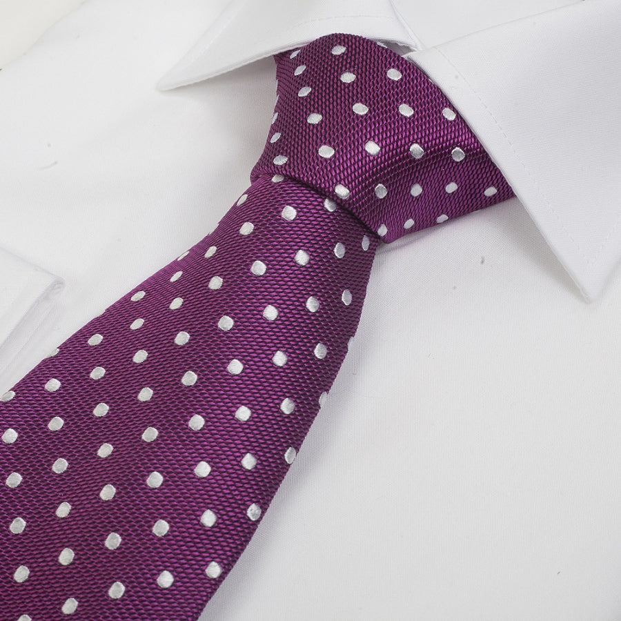 Silk Tie in Cerise & White Small Spot
