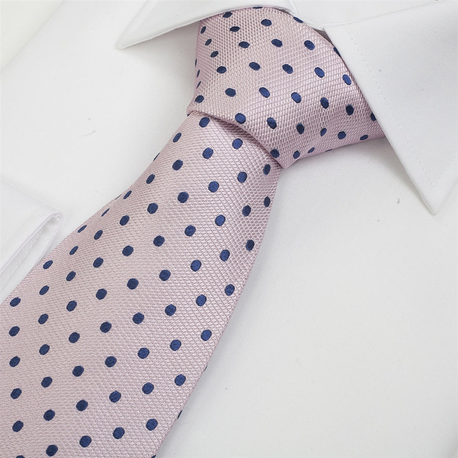 Silk Tie in Pink & Navy Small Spot