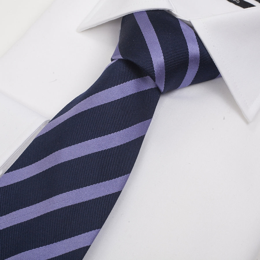 Silk Tie in Navy & Lilac Stripe