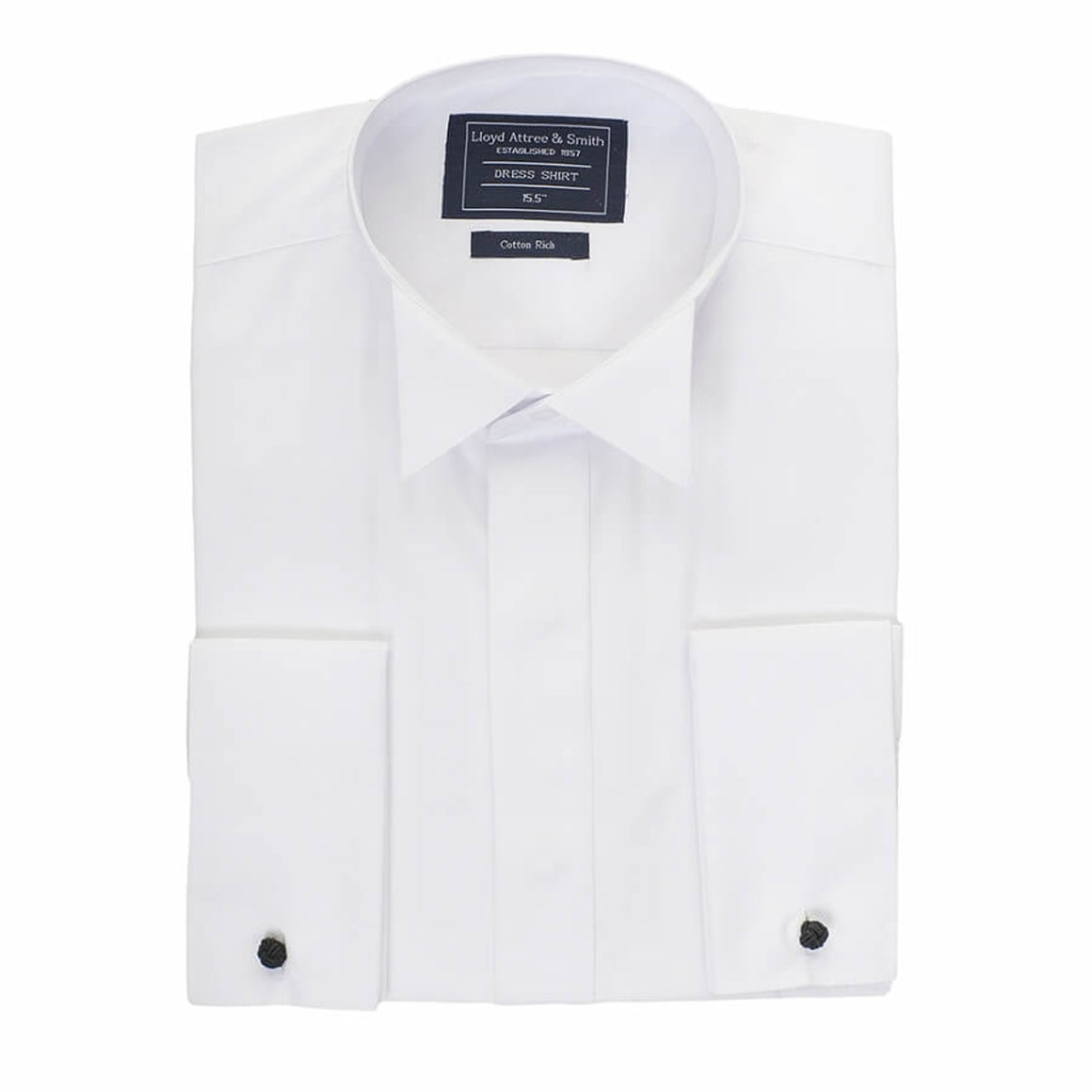 Plain Wing Collar Dress Shirt for Men in White