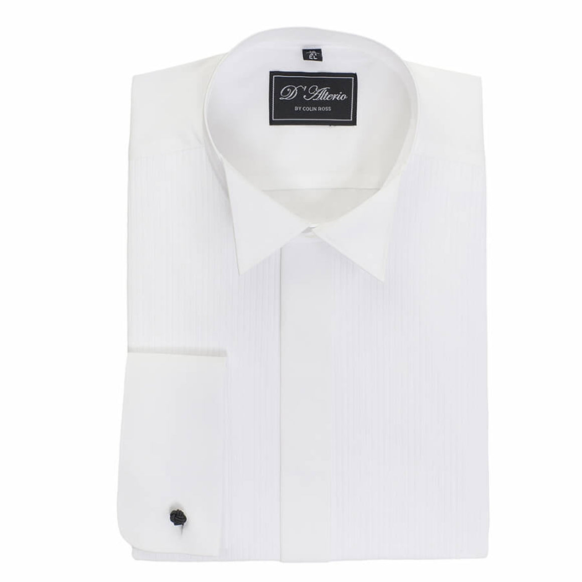 Pleated Wing Collar Dress Shirt for Men in White X-Long Length