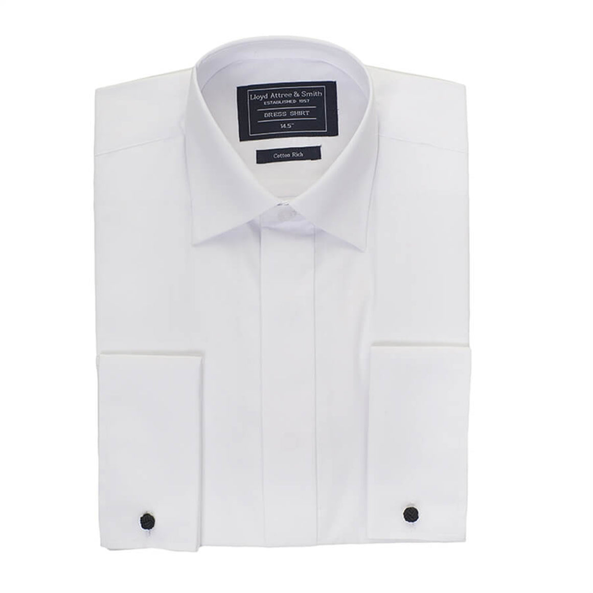 Plain Standard Collar Dress Shirt for Men in White X-Long Length