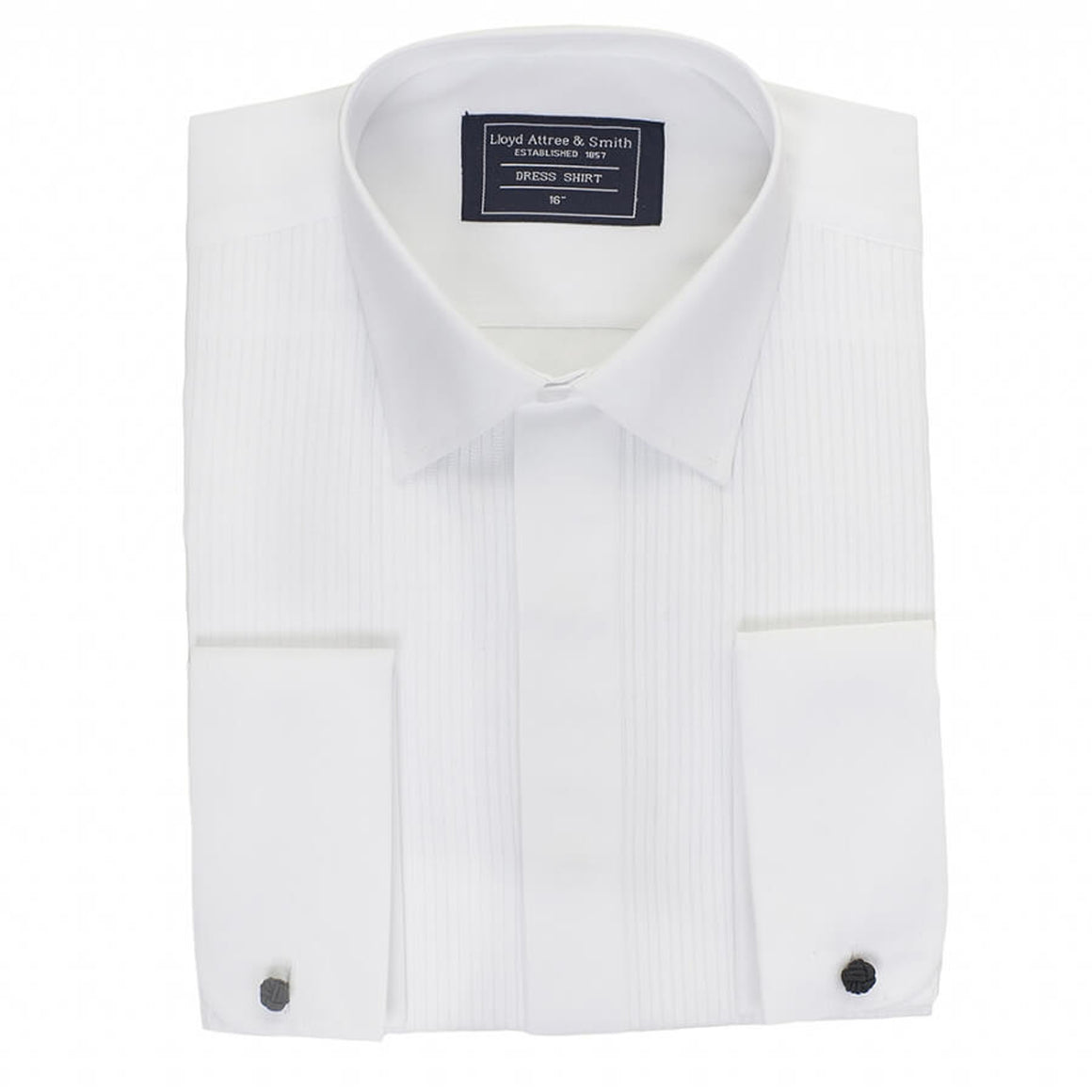 Pleated Standard Collar Dress Shirt for Men in White