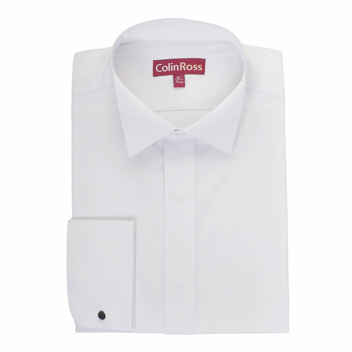 Plain Swept Wing Collar Shirt for Men in White