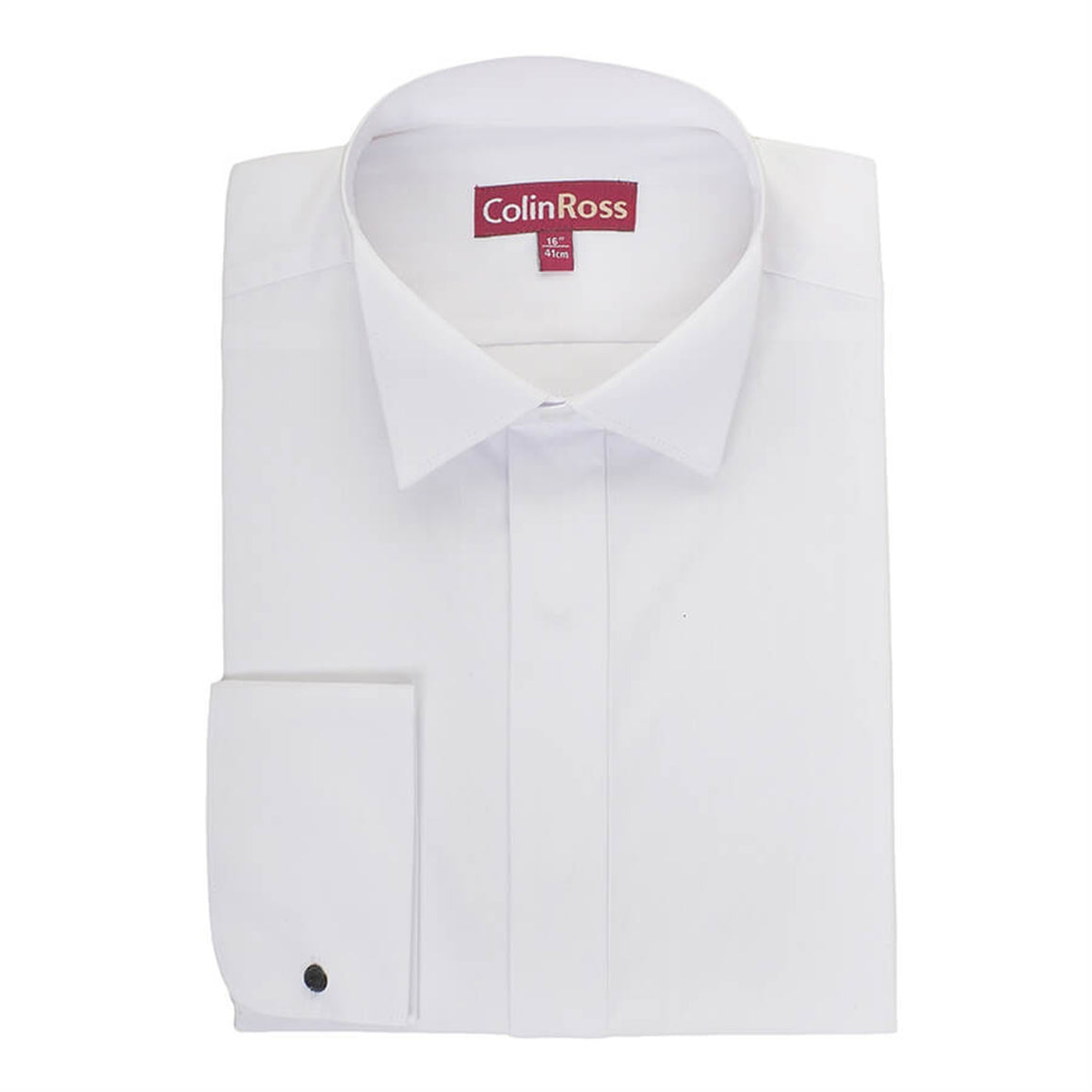 Plain Swept Wing Collar Shirt for Men in White X-Long Length