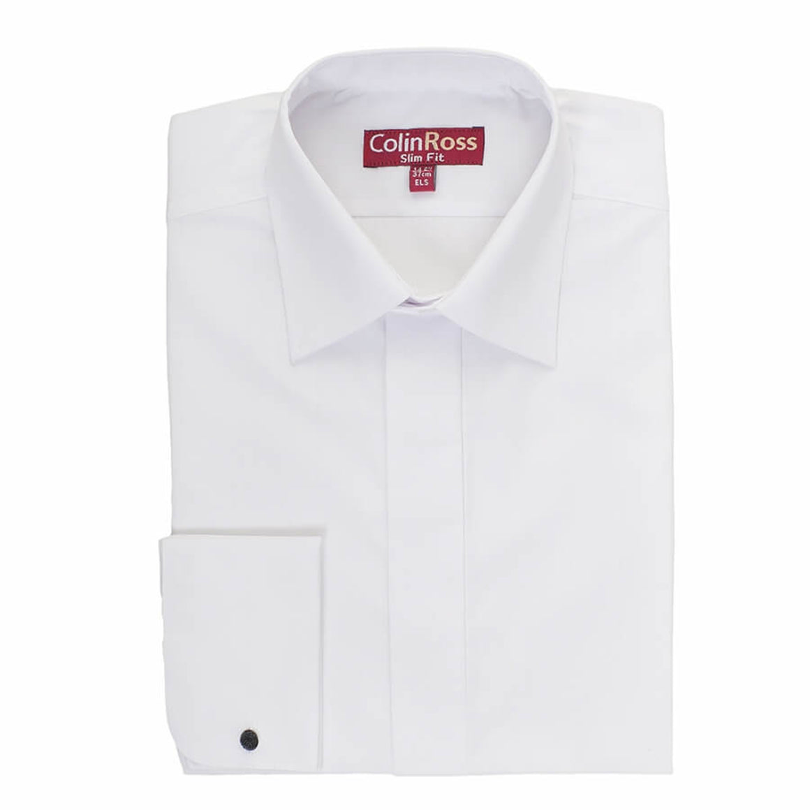 Plain Tailored Standard Collar Shirt for Men in White