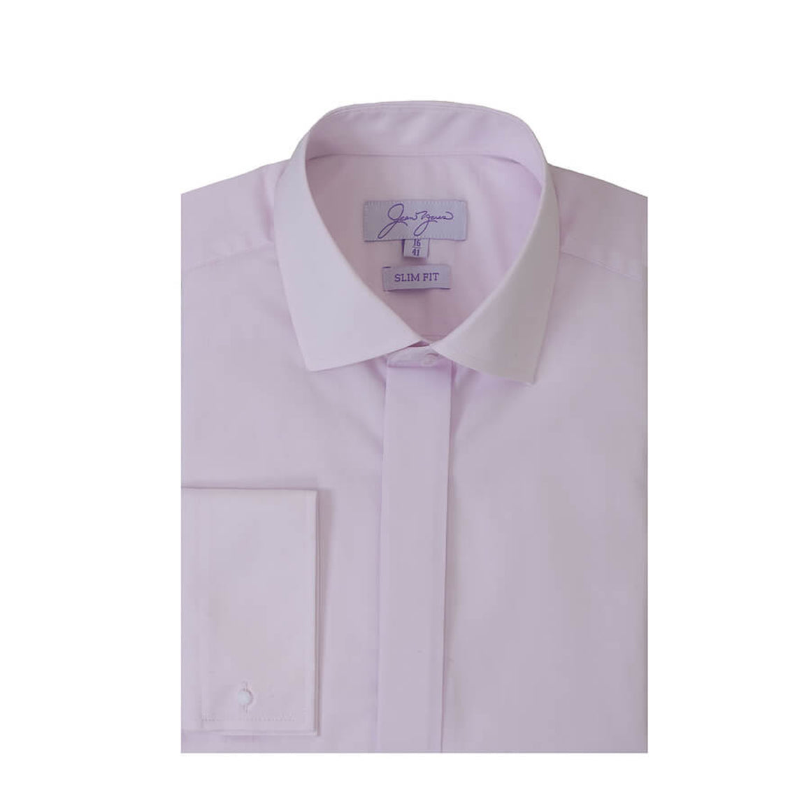 Plain Swept Collar Slim Fit Shirt for Men in Pink