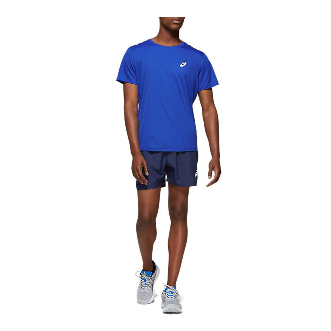 Silver Short Sleeved Running Top for Men in Asics Blue