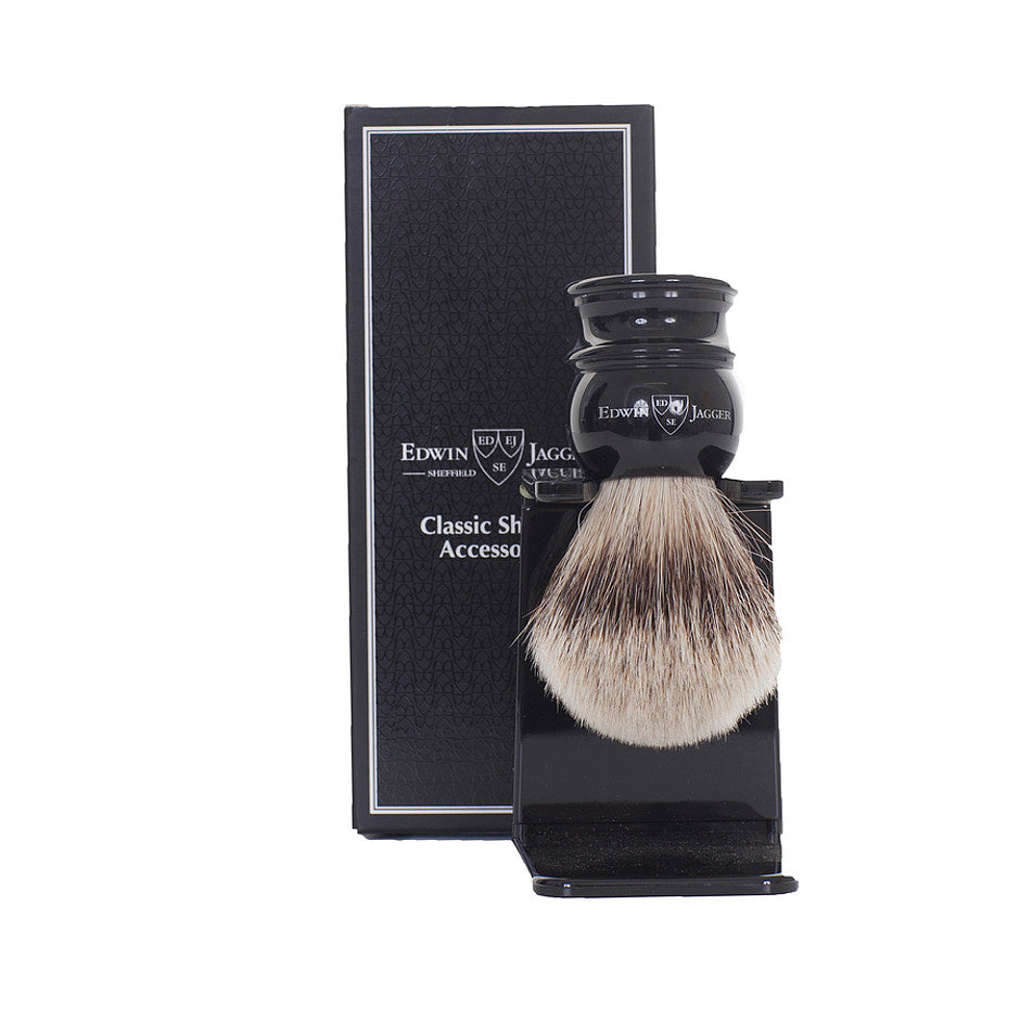 Silver Tip Badger Shaving Brush with Stand in Black
