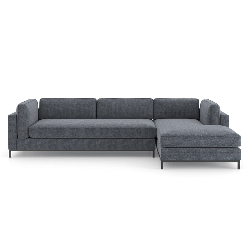 Rylan Sectional Matte Black, Cypress Navy Right Chaise