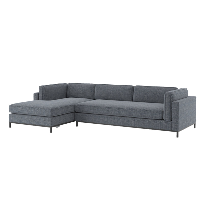 Rylan Sectional Matte Black, Cypress Navy Left Chaise