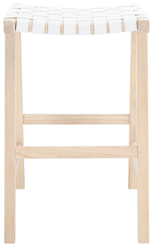Hadrian Rectangle Barstool set of 2 White / Natural