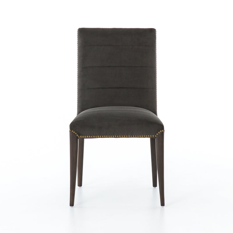 Tyler Dining Chair Bella Smoke, Brass, Burnt Nettlewood