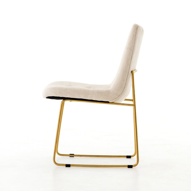 Eunice Dining Chair Savile Flax, Satin Brass