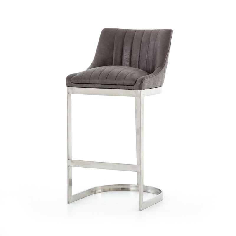 Adrianos Bar Stool Vintage Graphite, Brushed Stainless