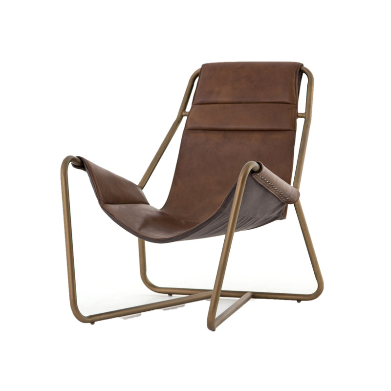 Baudoin Chair Patina Brown, Carbon Canvas, Aged Brass