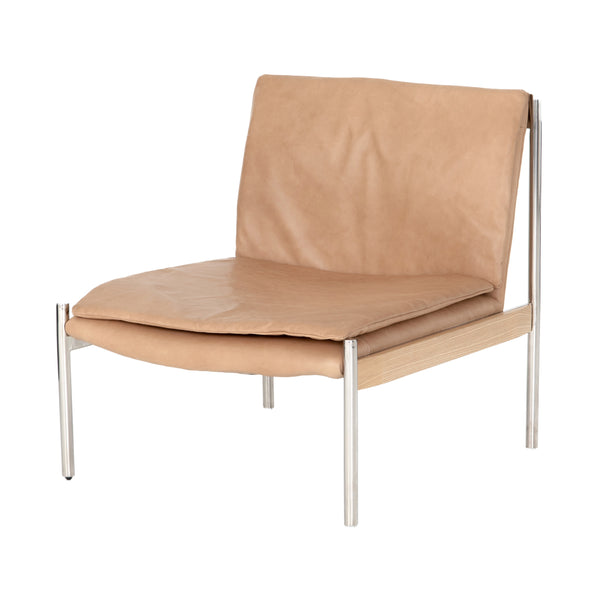 Vidal Chair Sahara Tan, Polished Stainless Steel, Bleached Ash