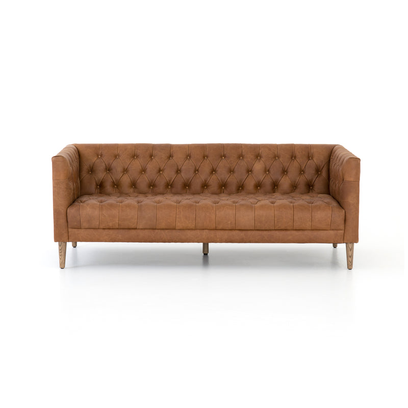 Stockton Sofa Natural Washed Camel, Weathered Oak 75""