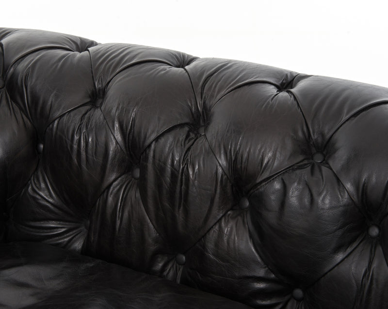 Maysh Sofa Rider Black, Antique Oak, Antique Brass Nailhead