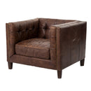 Sergius Chair Cigar, Antique Oak, Antique Brass Nailhead