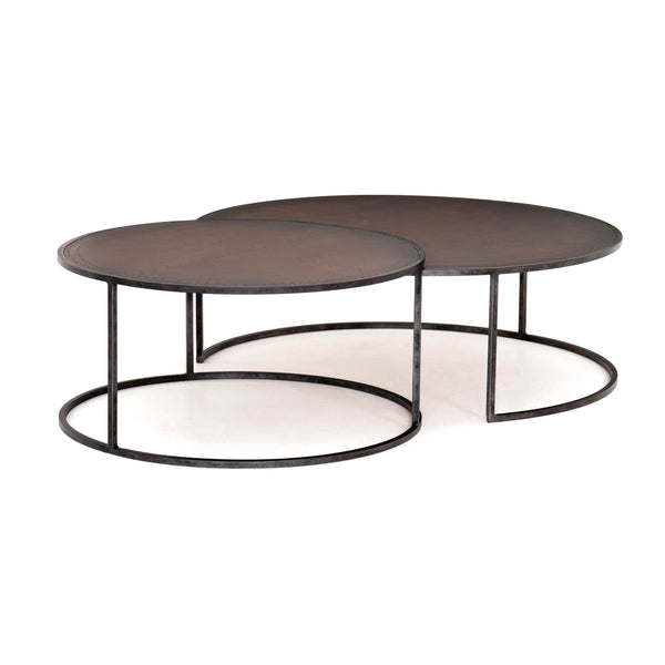 Glynnis Nesting Coffee Table Light Rustic Black, Antique Copper Clad