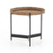 Vandalin End Table Powder Black, Bright Brass Clad, Light Burnt Oak