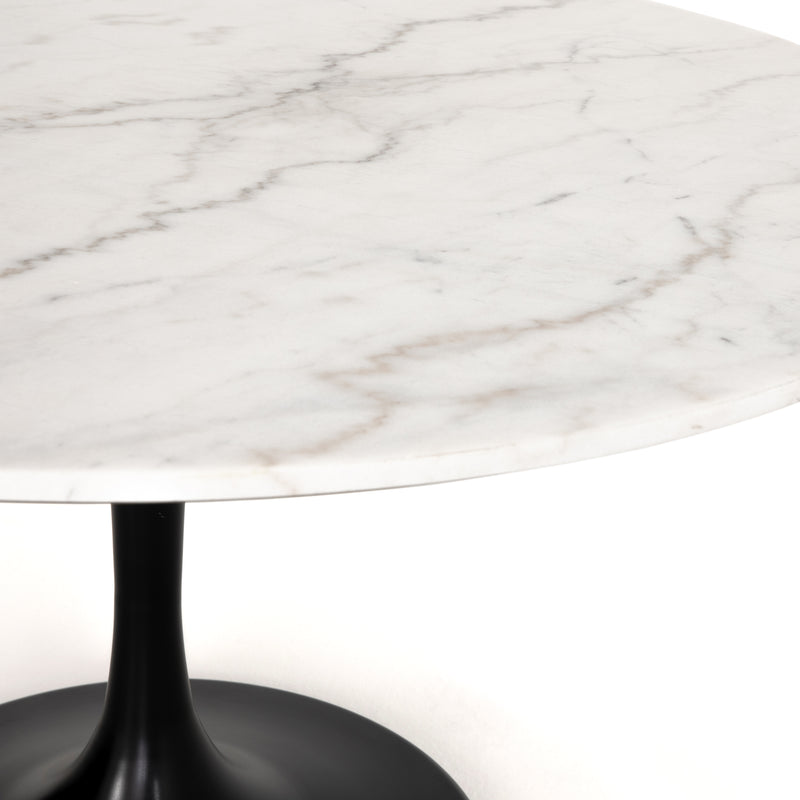 Dimitra Dining Table Dark Rustic Black, Weathered Ash, White Marble 55""