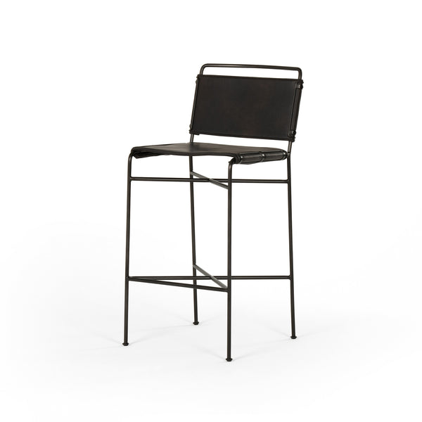 Soledad Counter stool Waxed Black, Distressed Black