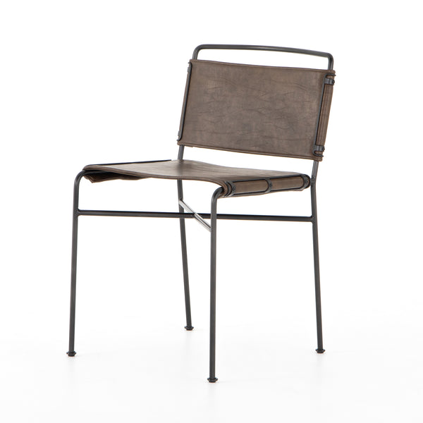 Nicolas Dining Chair Distressed Brown, Waxed Black