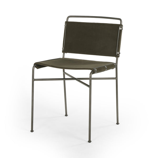 Nicolas Dining Chair Distressed Iron, Modern Velvet Loden