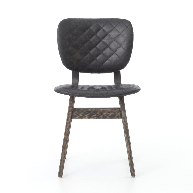 Eunice Dining Chair Heavy Burlap, Waxed Black, Quilted Ebony