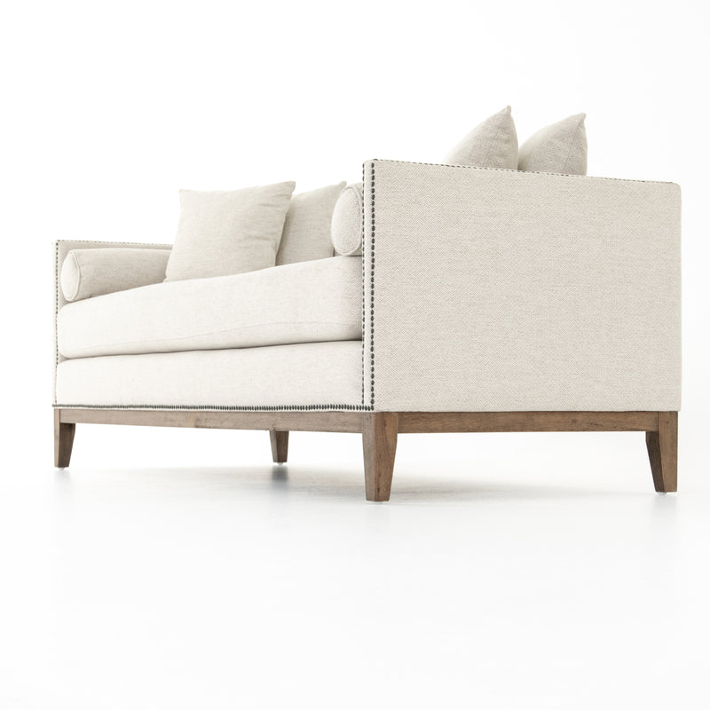 Prunella Double Chaise Noble Platinum, Matte Aged Brass Nailhead, Aspen Grey