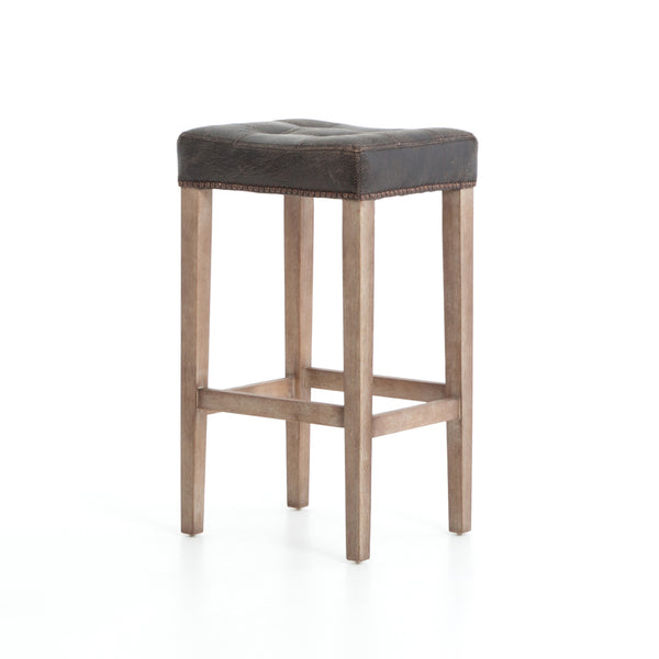 Andrew Counter stool Destroyed Black, Whitewash, Aged Bronze Nailhead